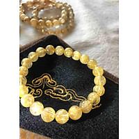 Chiếc Vòng Thạch Anh Vip Tóc Vàng Nhuyễn Đá Tự Nhiên 9ly Nữ Mệnh Kim Thổ Thuỷ