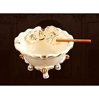 Gạt tàn thuốc bằng sứ cao cấp họa tiết hoa mai vẽ chỉ vàng phong cách tân cổ điển sang trọng, đẳng cấp