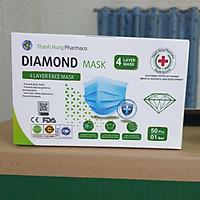 Khẩu trang y tế 4 lớp vải kháng khuẩn DIAMOND MASK hộp 50 cái màu xanh tiêu chuẩn ISO, CE, FDA xuất khẩu Châu Âu - Mỹ