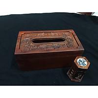 Hộp đựng giấy ăn chữ nhật khắc hình hoa hồng nổi tặng kèm ống tăm khảm trai - Gỗ Hương (Mã  HH1)
