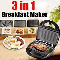 220V 3in1 Household Waffle Sandwich Machine BBQ Grilling Breakfast Maker