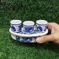 Bộ ly cúng bàn thờ gốm sứ Bát Tràng cao cấp (bộ khay 3 ly) – Đồ thờ cúng tráng men chất lượng đảm bảo