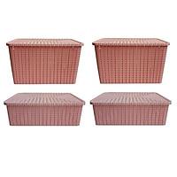Bộ 4 hộp đựng đồ Pinky M + L