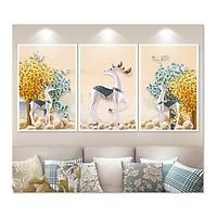 Decal dán tường bộ 3 khung tranh đẹp Tuần Lộc Tipo_002B