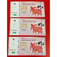 Combo 3 Tờ tiền macao 100 lưu niệm hình con trâu Tết lì xì - tặng kèm bao lì xì