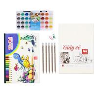 [Tặng ấn phẩm vẽ]  Bộ giấy màu vẽ nước nâng cao Hồng Hà   Vở, giấy vẽ A4, 5 bút chì gỗ có tẩy & màu nước dạng khay 36 màu)