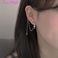 Bông tai nữ tua rua một bên kẹp tai chữ thập ( 1 cái )