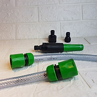 Combo vòi tưới cây điều chỉnh 3 tia nối nhanh W-3200 và bộ nối nhanh ống GH400s cho ống D12,14,16mm, thương hiệu Aquamate, nhập khẩu Đài Loan