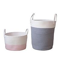 2x Cotton Rope Basket Baby Kids Toys Laundry Basket Woven Basket Nursery Bin L/S
