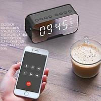 Loa Bluetooth Di Động Có Mặt Gương Tích Hợp Đồng Hồ Báo Thức, Có Khe Cắm Thẻ Nhớ