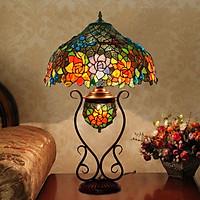 Đèn bàn Tiffany kiểu dáng tân cổ điển họa tiết Hoa Hồng