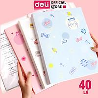 File Lá Học Sinh A4 Deli - 30/40 Lá - Xanh Dương/Hồng/Trắng - 1 Chiếc - 72493 / 72494
