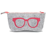Natural Felt Glasses Bag High-Grade Multi-Function Sunglasses Bag Fashion Metal Zipper Bag