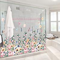 Decal dán kính tường vườn hoa sắc màu Nở Rộ