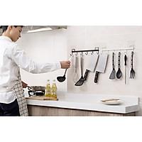 Bộ 2 Thanh treo đồ dán tường, tủ quần áo, nhà bếp, có 6 móc, chịu lực 5 kg 32.5X6.5cm (giao màu ngẫu nhiên)