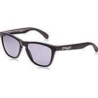 Oakley Men's OO9013 Frogskins Square Sunglasses, Polished Black Frame/Clear Lens, 55 mm