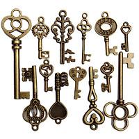 13 Assorted Antique Vintage VTG Old Look Skeleton Keys Bronze Steampunk Pendants
