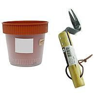 Combo chậu trồng cây 2 lớp + dụng cụ làm xốp, tơi đất trồng cây nội địa Nhật Bản