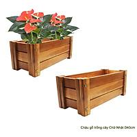 Bộ 2 chậu gỗ trồng cây Chữ nhật D40cm, Gỗ tràm bông vàng chuyên dùng ngoài trời, D40xR18xC16cm
