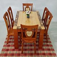 Bàn ăn mặt đá hình chữ nhật 1m3x 6 ghế màu vàng - Hàng nhập Malaysia