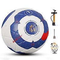 Bóng đá ngoại hạng màu trắng xanh - Quả bóng đá thi đấu số 5 - Banh bóng đá da đúc - Tặng kèm bơm, kim bơm và túi lưới