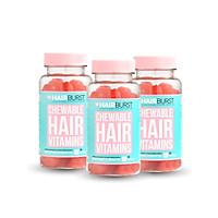 Combo 3 lọ kẹo dẻo vitamin chăm sóc, kích thích mọc tóc HAIRBURST chewable hair vitamins 60 gram/ 1 lọ
