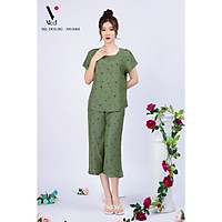 Bộ đồ nữ mặc nhà trung niên cho các bà, các mẹ - Bộ đũi trung niên Vicci BGS.082, thiết kế áo cộc tay phối quần ống sớ in hoạ tiết