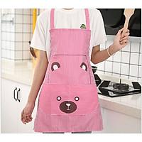 Tạp Dề Nhà Bếp kèm túi kẻ hình gấu dễ thương (màu ngẫu nghiên)