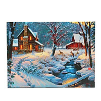 LED Light-up Snow Deer Log Cabin Canvas Art Picture Print Home Wall