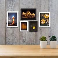 Bộ khung ảnh treo tường composite cà phê kèm đinh 3 chân  KA202