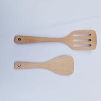 Dụng cụ nhà bếp - Combo 2 thìa gỗ tự nhiên/ vá sạn gỗ cao cấp thân thiện với môi trường