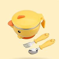 Bộ bát ăn dặm cao cấp Gà vàng 3 món kèm thìa dĩa dành cho bé (tặng hộp đựng thìa dĩa)