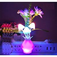 Đèn ngủ cảm ứng chậu hoa và nấm PKS - giao màu ngẫu nhiên