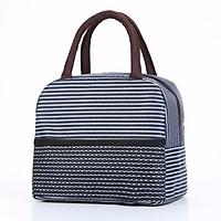 Túi đựng cơm giữ nhiệt khoá kéo, 2 ngăn, 3 lớp  Sọc Ngang (size 23x16x20 cm)