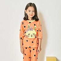 Bộ đồ lửng tay mặc nhà cotton mịn cho bé gái U2006 - Unifriend Hàn Quốc, Cotton Organic