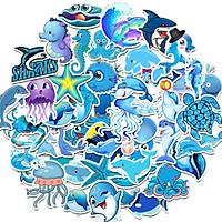 Set 60 Sticker chủ đề màu xanh biển ảnh ép lụa