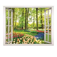 Decal dán tường cửa sổ vườn hoa VT0033