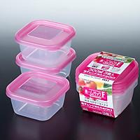 Hộp để đồ có nắp màu hồng 380ml (bộ 3 hộp) - Hàng nội địa Nhật