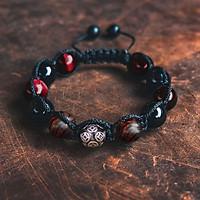 Vòng tay phong thủy thời trang handmade đá mắt hổ đỏ, đá đen kết hợp gỗ sưa đỏ bi kim tiền dây đan shamballa phật giáo