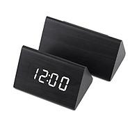 Đồng hồ LED để bàn tam giác Gỗ đen LED trắng - Cảm ứng âm thanh - Báo thức - Nhiệt kế