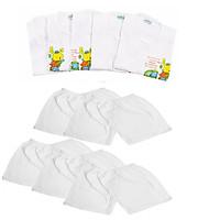 Set 5 Bộ quần áo ngắn tay cúc giữa 100% cotton màu trắng cho bé từ 3-17 kg