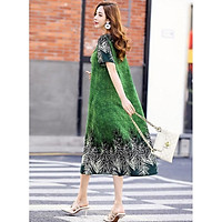 Đầm Dáng Xuông ,Váy Trung Niên, Váy Thiết Kế Họa Tiết Sang Trọng.