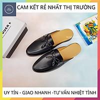 Giày sục nam phong cách trẻ trung, Sục nam cao cấp kết hợp nơ chất liệu da bò pu bền đẹp đế cao su đúc - Mã GEA26