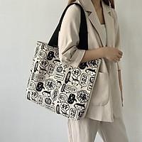 Túi tote bag đẹp vải canvas họa tiết độc đáo khổ vuông đi học đi chơi