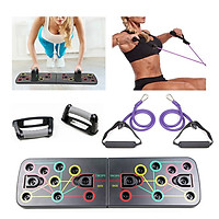 Multi-Function Foldable Push Up Board System with Resistance Tube Band Pull Rope Body Building Exercise Workout Push-up