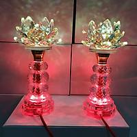 Cặp đèn thờ đá pha lê cao cấp tự động đổi 7 màu cao 22 cm