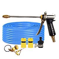 Bộ dây vòi xịt nước rửa xe,tưới cây đa năng,tăng áp 3 lần, loại 3m,5m 206318 đầu đồng,cút,nối nhựa đen+ tặng móc khoá