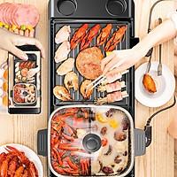 Bếp lẩu  nướng đa năng 2 ngăn mẫu to dành cho gia đình