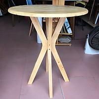 Bàn tròn cafe, bàn tròn sofa, bàn chân chụm mặt bàn gỗ cao su 60cm