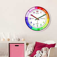 Telling Time Teaching Clock, Silent Non Ticking Analog Battery Operated Learning Clock for Kids, for School Classroom, Playrooms, Kids Bedroom Decor